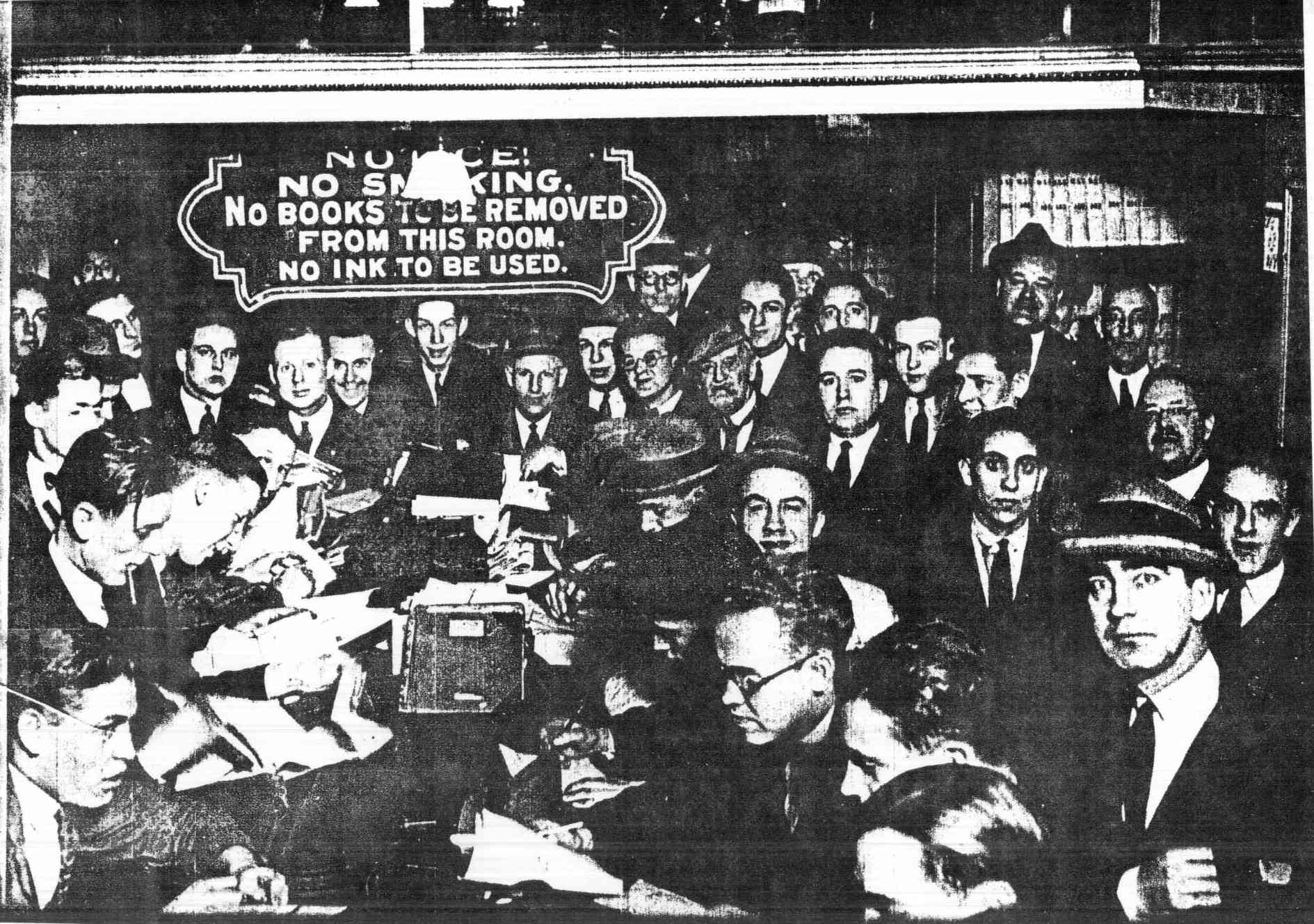 Picture of title searchers in the Philadelphia Record Room from about the 1940s